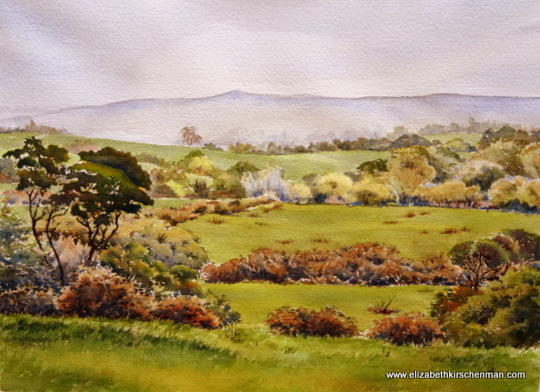 Irish Greens: Fields and Hedges 3, 2014, 10.5 x 14.5 ins., lost in 2017 fire