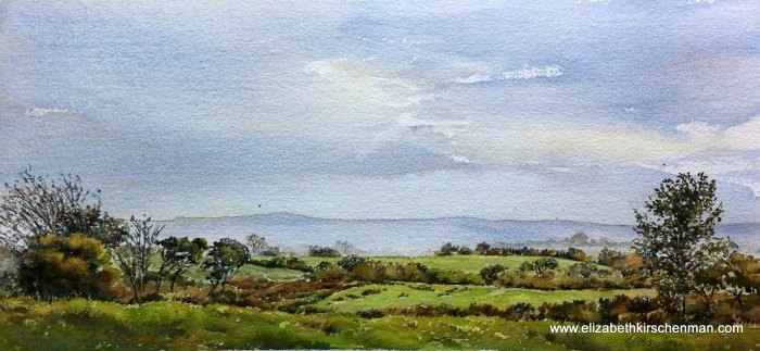 Irish Greens: Fields and Hedges 1, 2014, 7 x 14.5 ins., lost in 2017 fire
