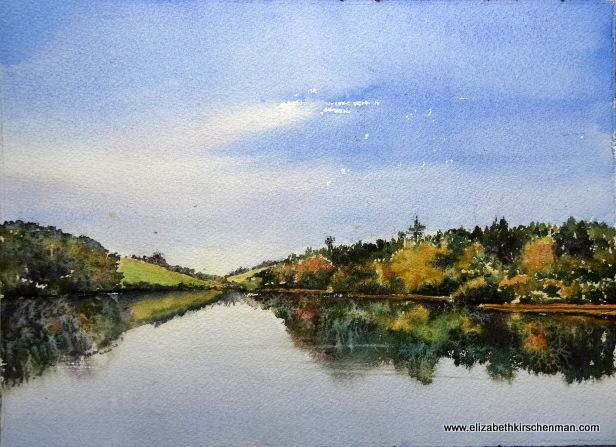 Lough Annaghmakerrig 2, 2014, watercolour, 10x14 ins., lost in 2017 fire