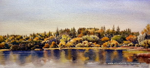 Lough Annaghmakerrig West 2, 2014, 7 x 14.5 ins., lost in 2017 fire