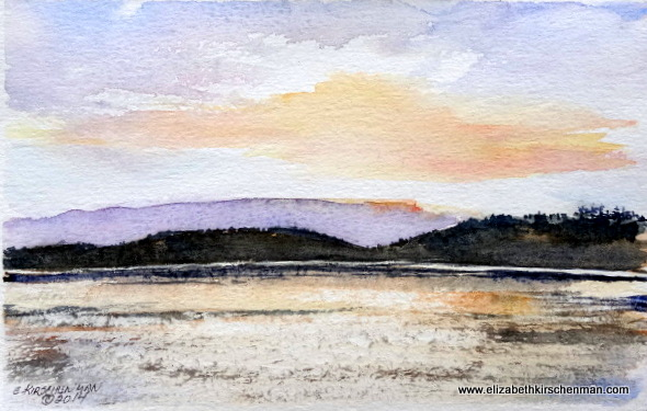 Sunrise on Lough Annaghmakerrig, 2014, 5.5 x 8.5 ins., sold