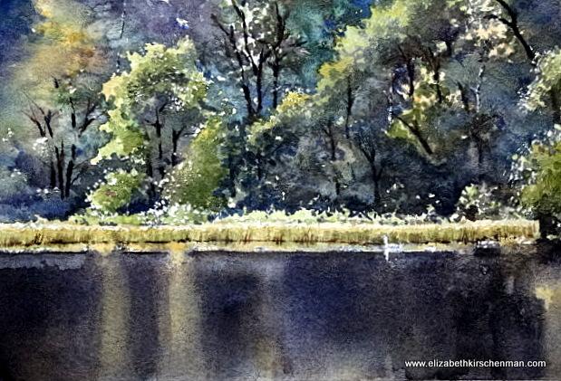 Swan's Rest, 2014, watercolour, 5.5x8 ins., lost in 2017 fire