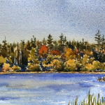 Lough Annaghmakerrig west, 2014, 7x14.5 ins., lost in 2017 fire