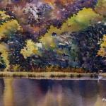 Swan's Rest - ultramarine, 2014, watercolour, 7x14.5 ins., sold