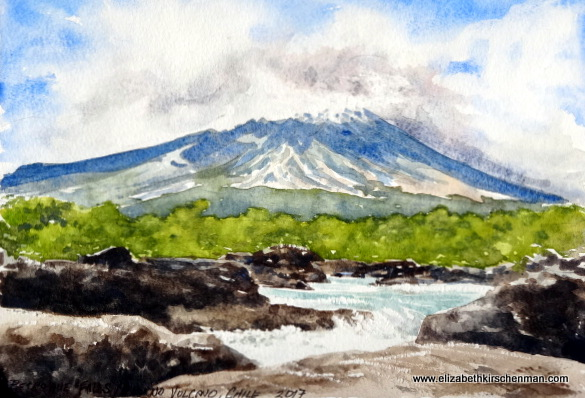 Elizabeth Kirschenman, Orsorno Volcano from Petrohue Falls, 2017